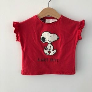 5/$30 Zara Baby Snoopy T, Size 6-9 Months